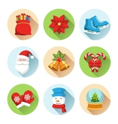 Set of christmas winter circle icons isolated on vector