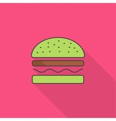 Burger icon with long shadow vector