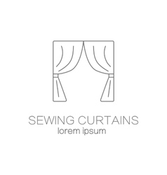 Sawing curtains shop logo design templates vector
