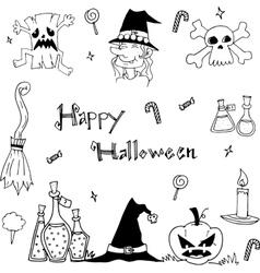 Doodle of happy halloween flat vector