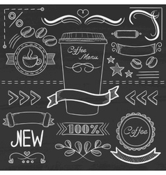 Set of labels ribbons frames for coffe menu vector
