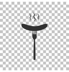 Sausage on fork sign dark gray icon on vector