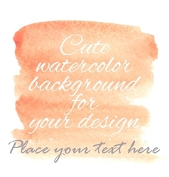 Hand drawn watercolor pastel background with text vector
