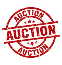 Auction round red grunge stamp vector
