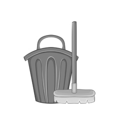 Brush and bucket icon black monochrome style vector image