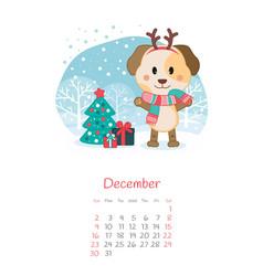 Calendar 2018 months december with dog vector