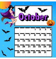 Calendar for october bats pumpkin witch vector