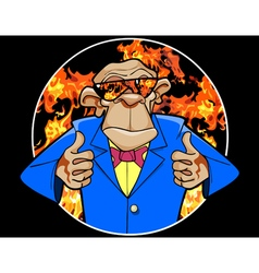 cartoon ape in a suit and sunglasses vector image vector image