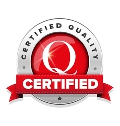 Certified quality badge with red ribbon vector image vector image