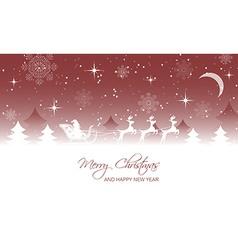 Christmas landscape santa on sleigh with reindeer vector
