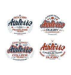 College rugby team emblems athletic vector image