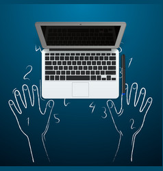 Computer with hands out of the chalk vector