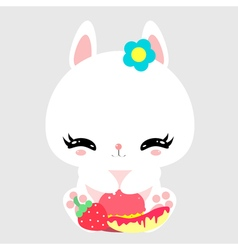 Cute little bunny with sweets and fruits Macaroon vector image vector image