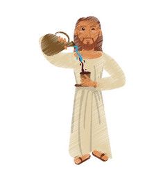 Drawing jesus christ miracle water wine design vector