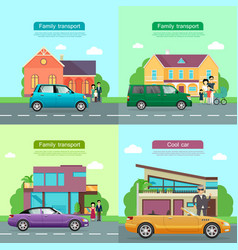 family transport collection of automobile icons vector image vector image