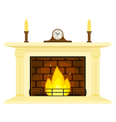 Fireplace with clock and candles isolated vector