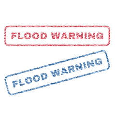 Flood warning textile stamps vector