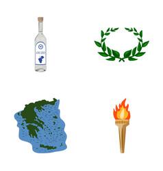 Greece country tradition landmark greece set vector