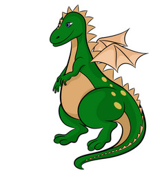 Green dragon on white background vector