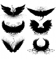 Grunge wing silhouette vector