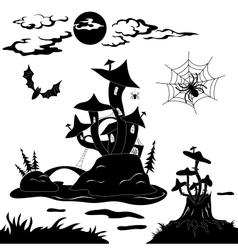 Halloween cartoon landscape vector image