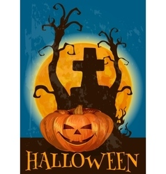 Halloween poster with traditional pumpkin lantern vector image vector image