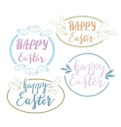 Hand written Happy Easter phrases Greeting card vector image vector image