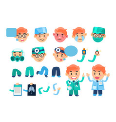 Male doctor animated character set various face vector