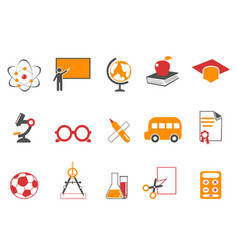 orange education icons set vector image vector image