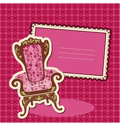 Pink Armchair and picture on checked background vector image vector image
