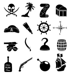 Pirates icons set vector image