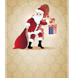 Santa Claus with Christmas present vector image