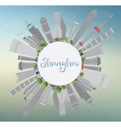 Shanghai skyline with blue sky vector