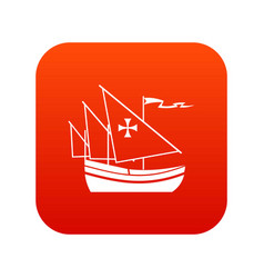 ship of columbus icon digital red vector image vector image
