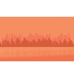 Silhouette of many building city vector