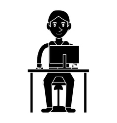 Silhouette young boy uses computer desk chair vector