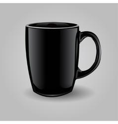 Template ceramic clean black mug vector
