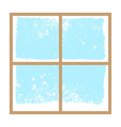 Winter snowy window vector