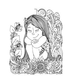 zentangl girl sitting in the vector image