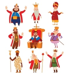 Kings cartoon set vector image