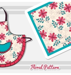 Apron with doodle flowers vector