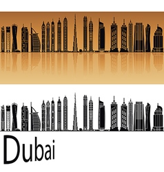Dubai v2 skyline in orange vector