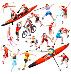 Sport isometric olympic set sportsmen aurielaki vector