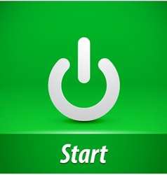Paper start button on green background vector