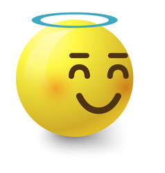 angelic smiley icon cartoon style vector image