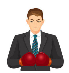 Businessman in suit and boxing gloves isolated on vector