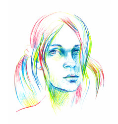 Hand drawn pencil sketch with face of a vector