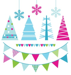 Abstract xmas trees and design elements vector