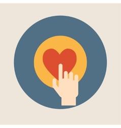 Hand pressing like  heart  button flat design vector