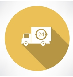 A truck delivery 24h icon vector